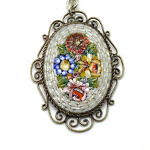 Load image into Gallery viewer, Mosaic Glass Pendant Necklaces with Cane Beads - WHITE