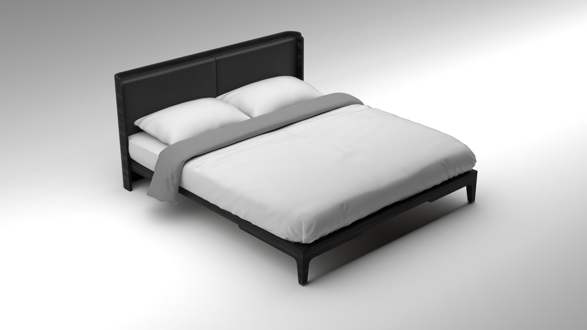 akar bed, guimar bed, black bed frame, anthracite bed frame, leather upholstery headboard, minimalist design