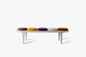 candy bench, lacquer bench, pierre Frey velvet, akar candy, solid oak bench,