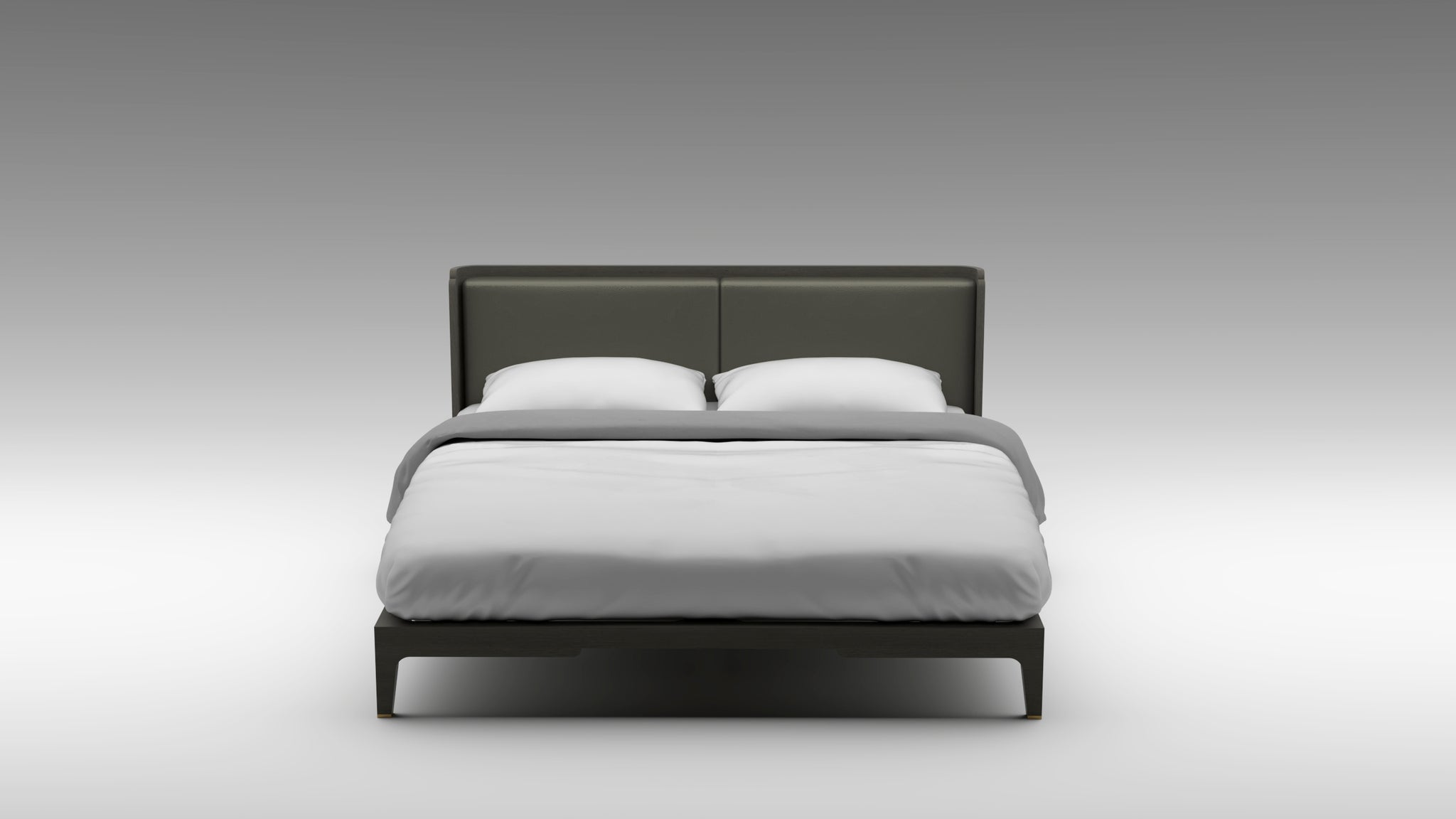 Double Clay Guimar bed, simplistic bed frame, grained leather headboard, designer bed frame, guimar bed, akar bed,
