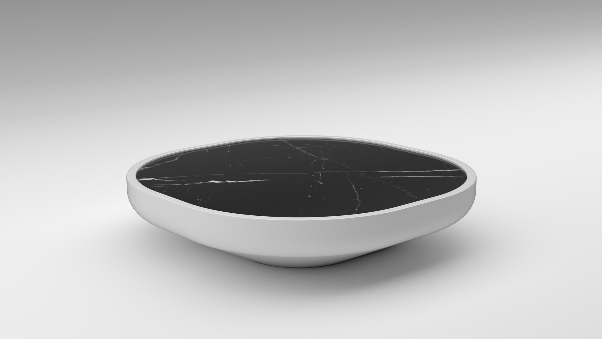 nero marquina, black marble, black marble coffee table, monochrome coffee table, iris mini, iris mini akar, low coffee table