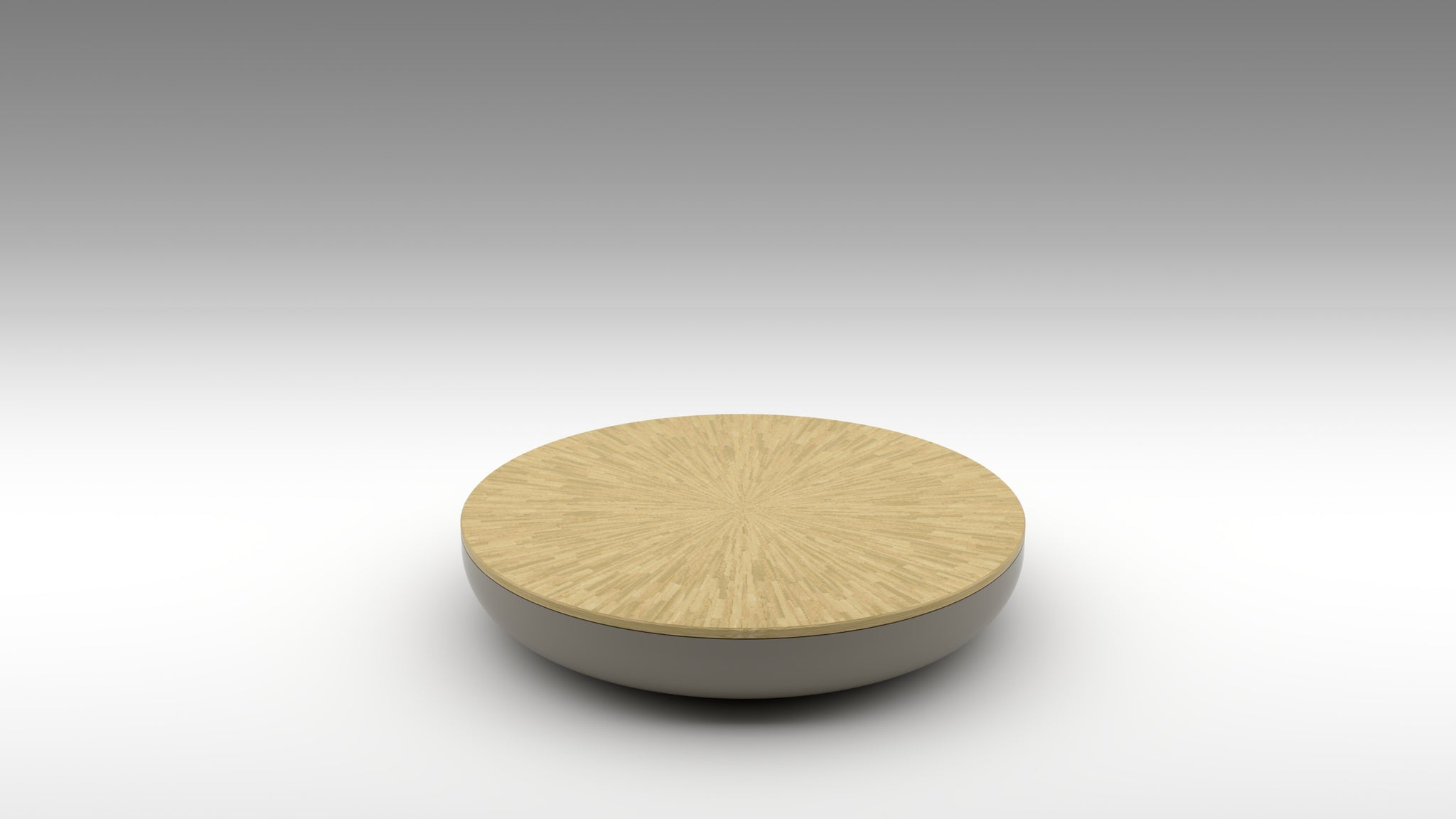 half macaron, akar macaron, lacquer coffee table, straw marquetry, beige straw marquetry, light gold straw marquetry, neutral coffee table, maple coffee table, solid maple, akar coffee table, round coffee table, nissim coffee table, low table, glossy lacquer, starburst straw