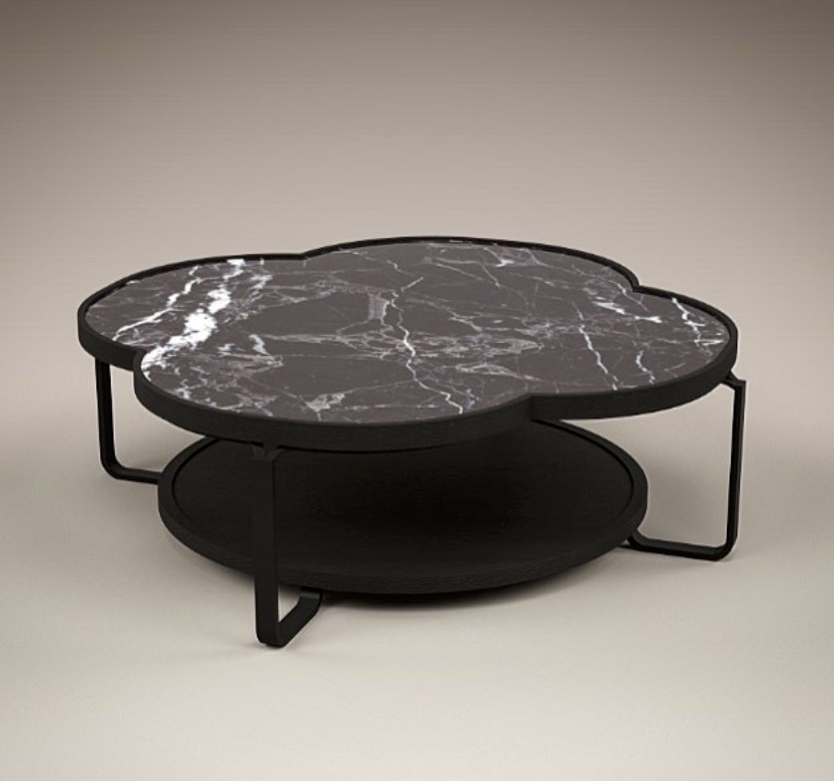 prune coffee table, marble coffee table, Nero Marquina, marble veins, clover design, four leaf, steel coffee table, oak coffee table, two layer coffee table, akar de Nissim, luxury furniture, designer furniture, minimalist, bespoke furniture, prune, Sabin,