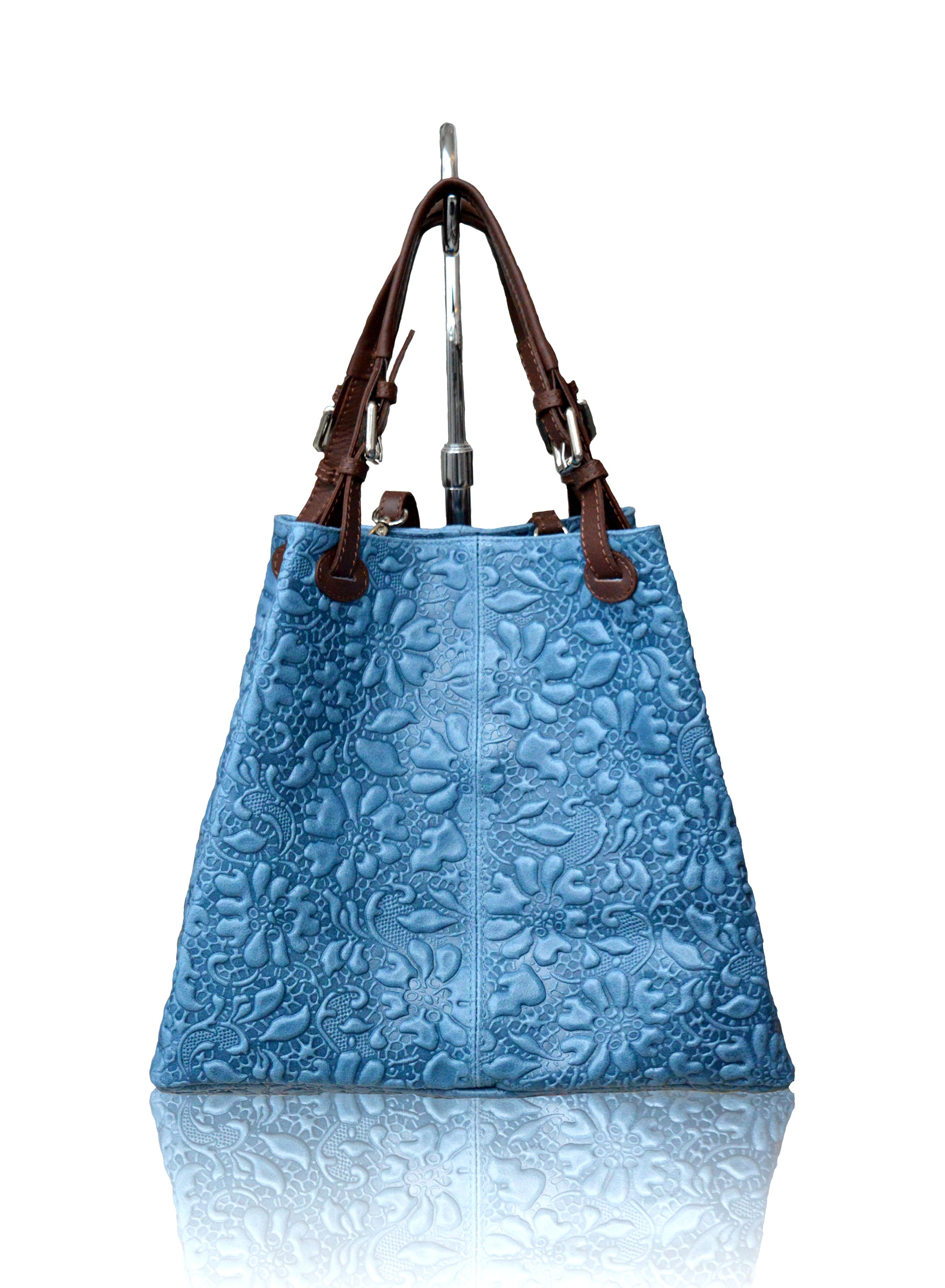 Leather Bag with Embossed Flower Print - Made in Italy