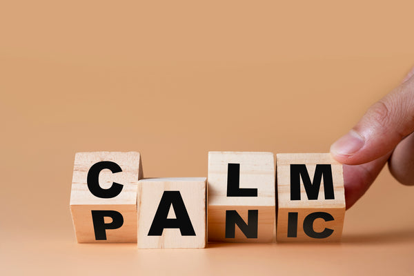 Blocks that spell out calm and panic