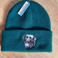 Beechfield Forest Green Hunting Beanie Cap with Embroidered Black Labrador Motif