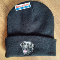 Beechfield Hunting Beanie Cap with Embroidered Black Labrador Motif