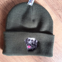 Beechfield Olive Hunting Beanie Cap with Embroidered Black Labrador Motif