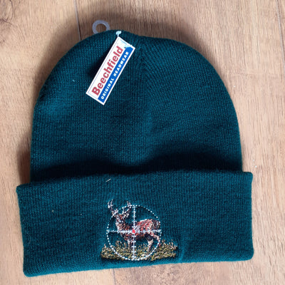 Beechfield Hunting Beanie Cap with Embroidered Stag-in-Sights Motif
