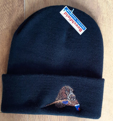 Beechfield Hunting Beanie Cap with Embroidered Dog & Pheasant Motif