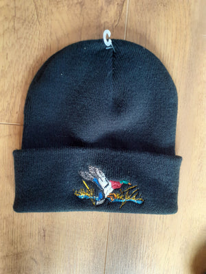 Beechfield Hunting Beanie Cap with Embroidered Duck Motif Black