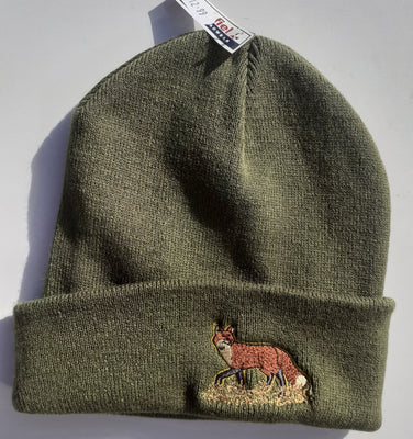 Beechfield Hunting Beanie Cap with Embroidered Standing Fox Motif Olive