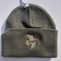 Beechfield Hunting Beanie Cap with Embroidered Woodcock Motif Olive