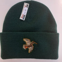 Beechfield Hunting Beanie Cap with Embroidered Woodcock Motif - Forest Green