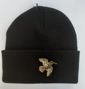 Beechfield Hunting Beanie Cap with Embroidered Woodcock Motif Black