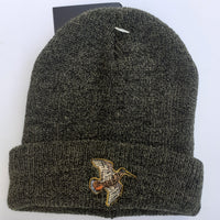 Beechfield Hunting Beanie Cap with Embroidered Woodcock Motif Olive Marl
