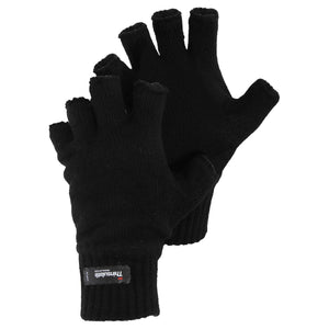 Men's Black Thinsulate Lined Knit Fingerless Gloves