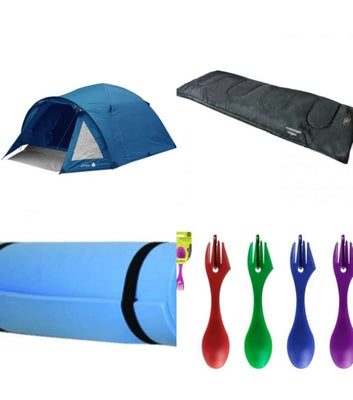 Juniper Camping Package - 4 Man Tent + 2 Sleeping Bags + 2 Camper Mats