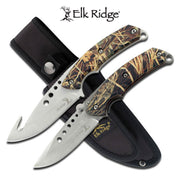 "Elk Ridge Fixed & Folding Blade Hunting Knife Set - 8.5"" - Camo Handle"
