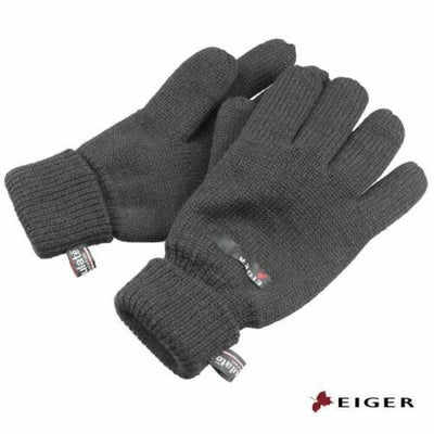 Eiger Grey Knit Gloves with 3M Thinsulate Lining