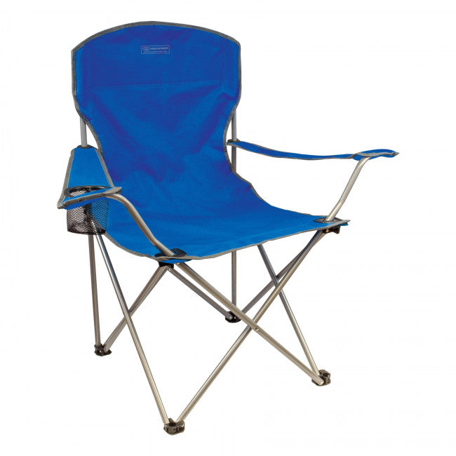 Highlander Traquair Camp Chair - Blue - Ideal for Fishing, Camping, Back Garden, BBQ