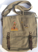 Dog-Training/Hunting Shoulder Satchel with Embroidered Motif - Hunter with Gun Dog