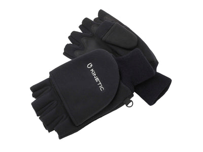 Kinetic Wind Stop Black Foldover Mitt - Ideal for Winter Sports - Fishing, Shooting, Farming