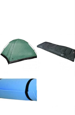 Monodome Camping Package - 2 Man Tent + 2 Sleeping Bags + 2 Camper Mats