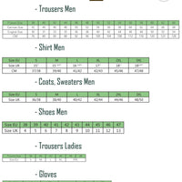 Percussion Hunting Clothing Size Chart