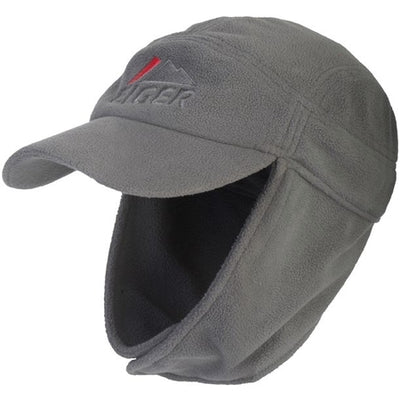 Eiger Soft Grey Fleece Cap with Brim & Ear Flaps