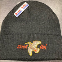 "Beechfield Hunting Beanie Cap with Embroidered ""Cock Up!"" Motif - Black"