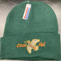 "Beechfield Hunting Beanie Cap with Embroidered ""Cock Up!"" Motif Forest Green"