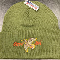 "Beechfield Hunting Beanie Cap with Embroidered ""Cock Up!"" Motif Olive"