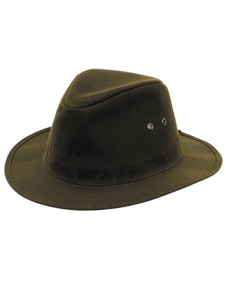 Hoggs of Fife Indiana Classic Waxed Country Hat - Fishing, Hunting, Farming, Outdoors -- Khaki Green