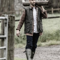Hoggs of Fife Padded Waxed Waistcoat - Hunting/Fishing/Farming
