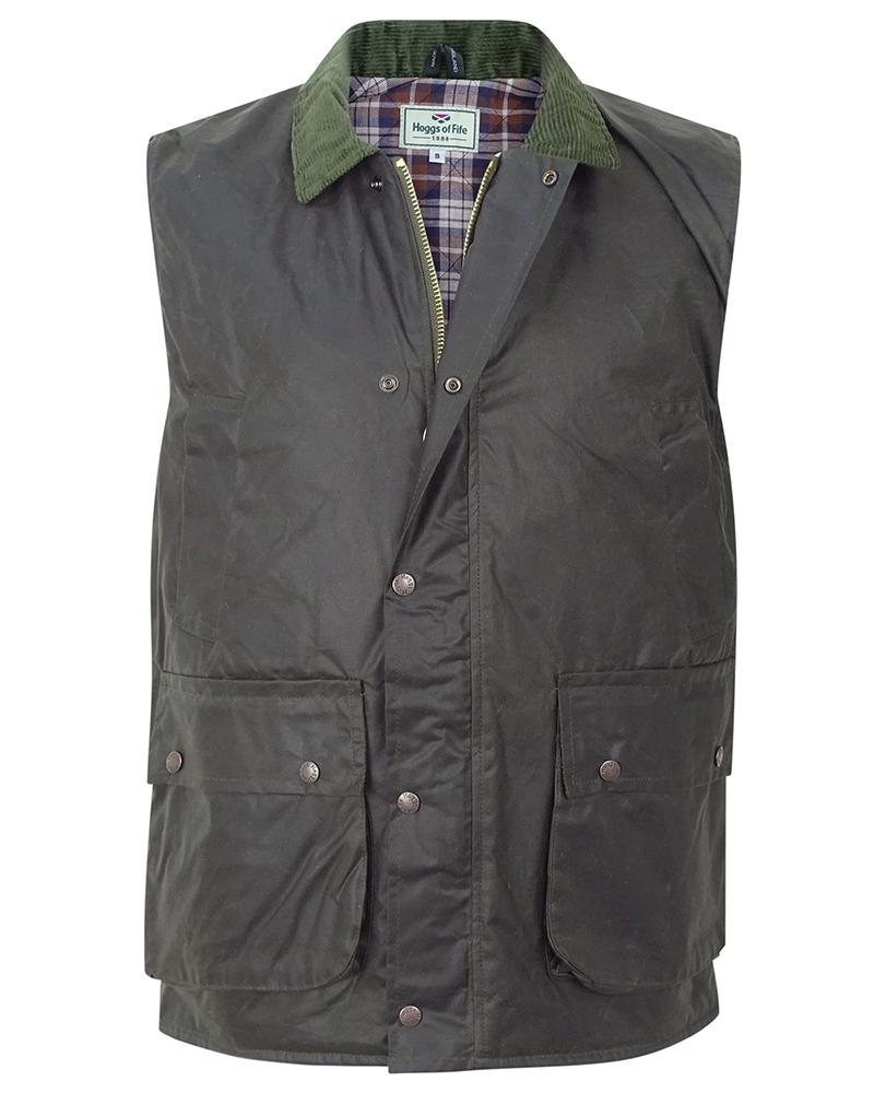 Hoggs of Fife Padded Waxed Waistcoat Full Front View - Hunting/Fishing/Farming