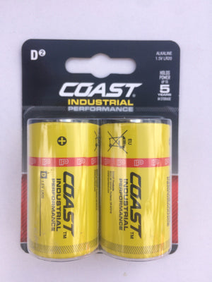 Coast Industrial Performance D Cell Batteries - 2pc