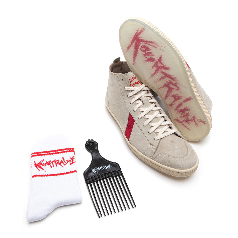 SAWA X KOURTRAJME TSAGUE SUEDE WHITE RED PACK