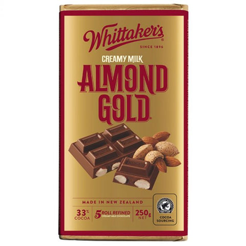 Whittakers Chocolate Block Almond Gold 250g