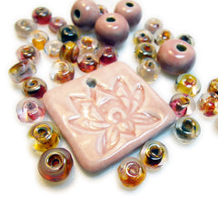 Cameo Pink Lotus Pendant. Artist made lampwork glass beads.