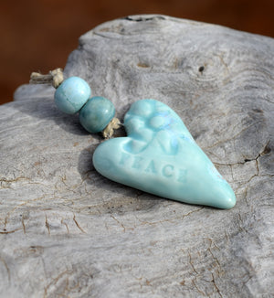 Peace Heart Pendant Bead Set | Ceramic Beads | Pale Turquoise Blue