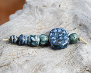 Blue Ceramic Beads Set Large Focal