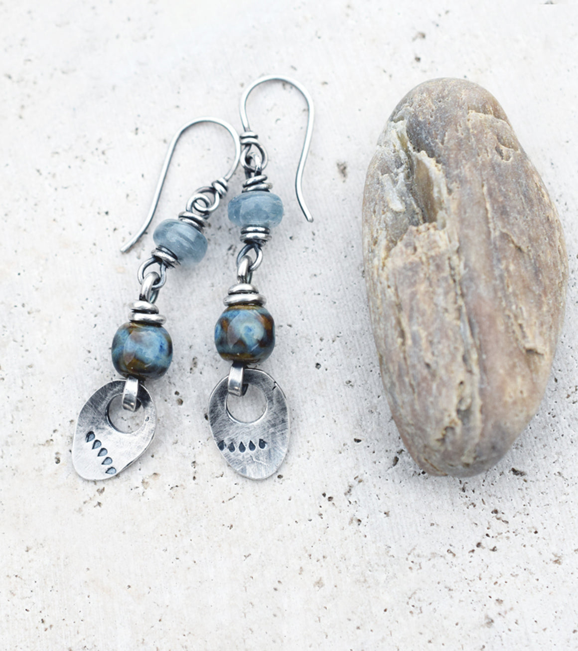 Silver Nugget Earrings with Blue Kyanite and Rust Blue Porcelain Beaded Dangles. 10247