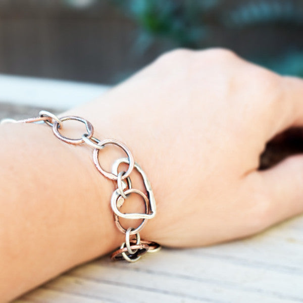 Copper Link Bracelet with Heart Charm