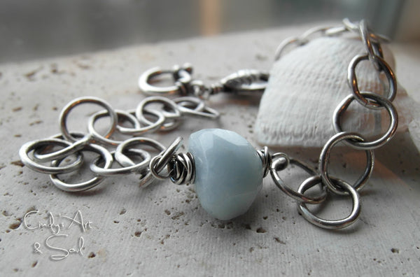 Aquamarine Bracelet Fine Silver Handcrafted Chain Custom Made to Order