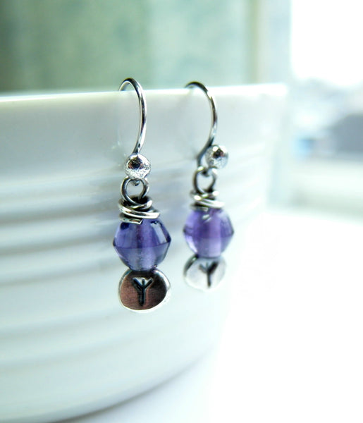 Runic Earrings Rune Jewelry 999 Fine Silver Purple Glass