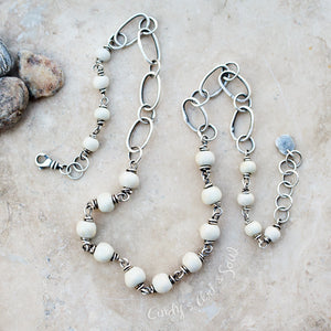 White Porcelain Necklace. Designer Jewelry. Sterling Silver Necklace by Cindy's Art & Soul.