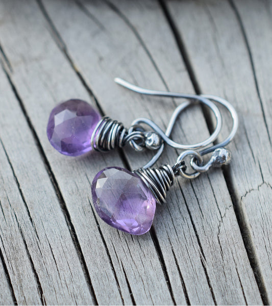 Amethyst Gemstone Earrings. Purple Stone Briolette Jewelry. Cindy's Art & Soul 41731