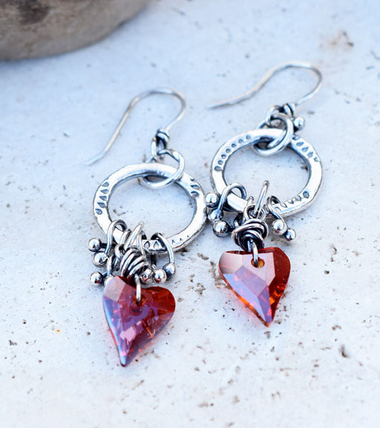 Sparkling Red Hearts Earrings. Swarovski crystals in Red Magma. Silver Hoop Earrings By Cindy's Art and Soul Jewelry.