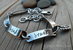 Personalized Charm Bracelet Hand Stamped Sterling Silver